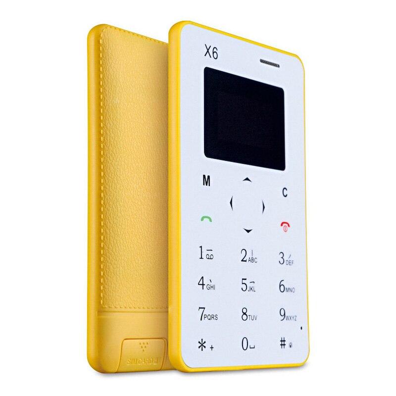 Tarjeta original del teléfono aiek teléfono celular x6 mini teléfono niños teléf