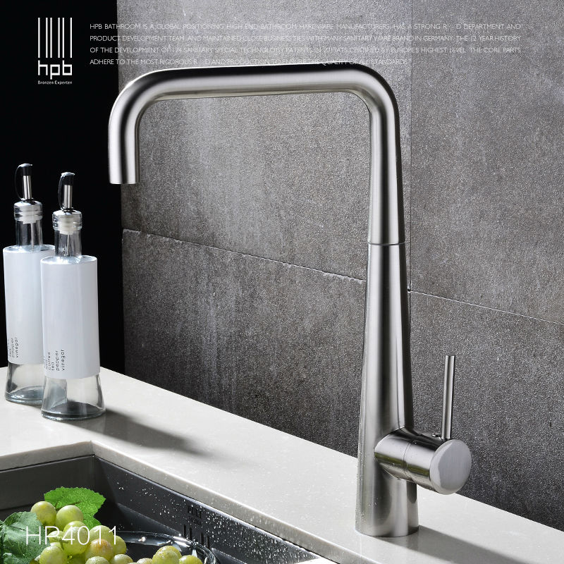 Brass Brushed Rotary Deck Mounted Hot And Cold Water Kitchen Mixer Tap Pb-free Sink Faucet torneira cozinha HP4011 kemaidi high quality brass morden kitchen faucet mixer tap bathroom sink hot and cold torneira de cozinha with two function