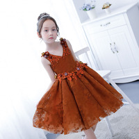 Chocolate Color Flower Girls Dress Kids Princess Party Wedding Gowns Lace Up Graduation Ceremony Cute Baby Kids Formal Wear S85