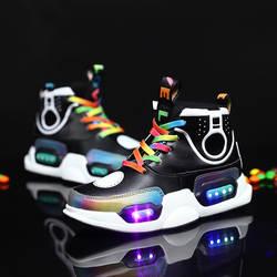 2019 новые детские светодиодные туфли USB Charing светодиодные задние светящиеся туфли для девочек светящиеся кроссовки для мальчиков кроссовки