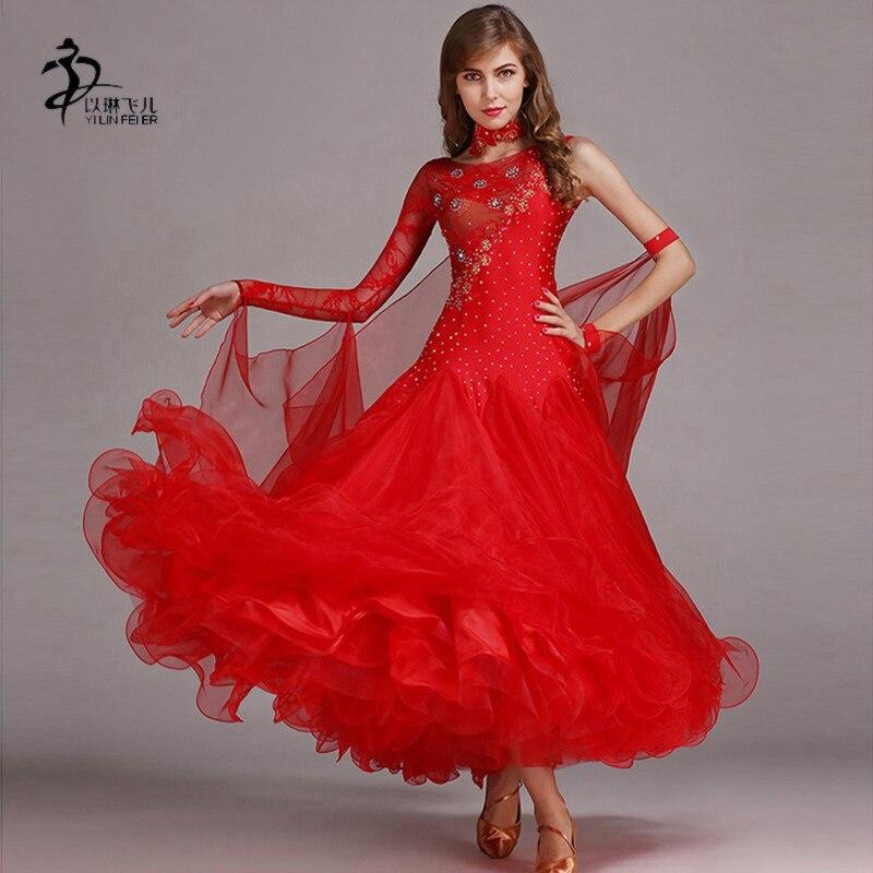 Robe de danse moderne valse concours Standard strass robe rouge Standard salle de bal danse vêtements compétition
