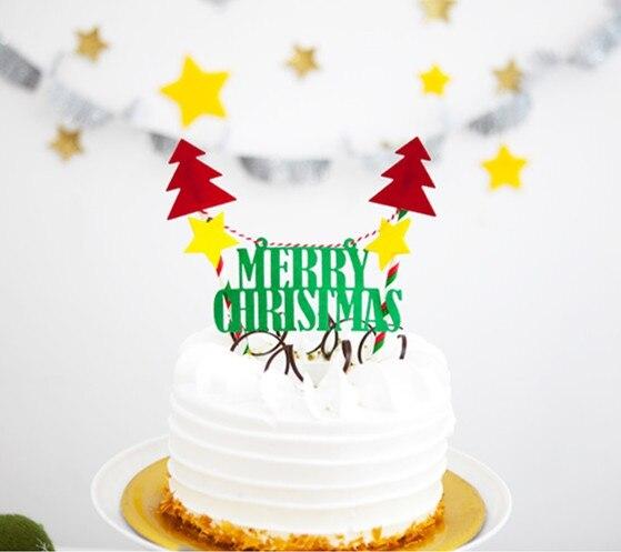 1 Satz Brief Frohe Weihnachten Kuchen Topper Mit Papier Stroh