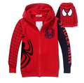 New Spring Autumn Children's Clothing Spider Man Two Sets Of Boys Sweatshirt+Trousers Hoodie Suit Red Color Black 2-6 Years old