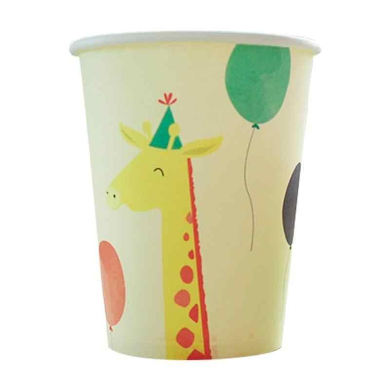 30 Pcs Tek Kullanımlık Kağıt Sofra Takımı Set Karikatür Hayvan Balonlar Dekore Kağıt Tabak Kağıt Bardak Kağıt Kase Seti Yemek