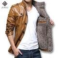 Jaquetas De Couro dos homens e Casacos de 2016 Homens Da Moda Fina Se Encaixa PU Homens Grossas de Inverno Outwears Plus Size 5XL Casuais Jacquard Boa Qualidade