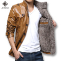 Men Leather Jackets and Coats 2016 Fashion Men Slim Fits PU Outwears Plus Size 5XL Casual Men Thick Winter Jacquard Good Quality