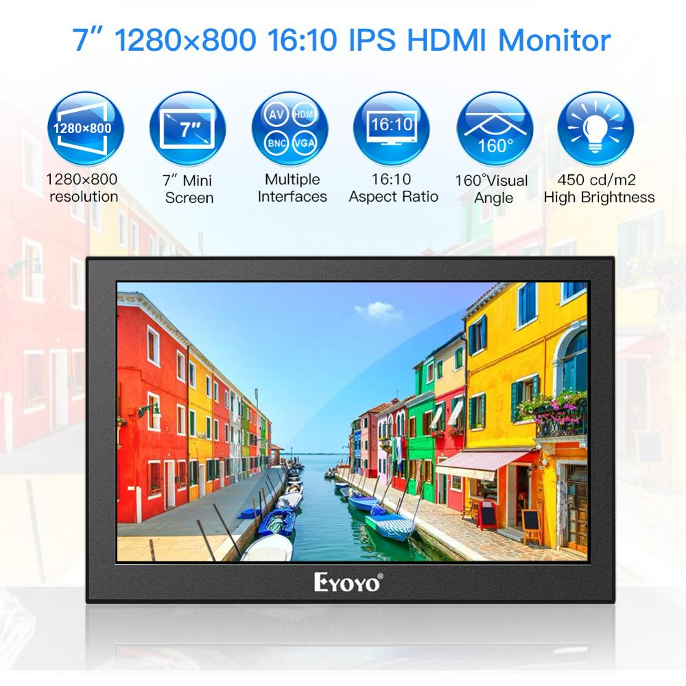 Eyoyo 7 inch Portable 1280x800 IPS LCD Screen Display CCTV Monitor Portable Security Surveillance HD Input Raspberry Pi Monitor in LCD Monitors from Computer Office
