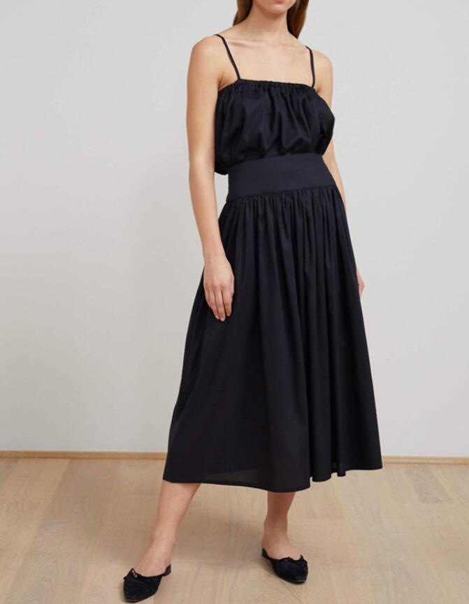 Black Nerola Midi Skirt High Waist with Pockets Woman Fashion Design A line Pleated Skirt 2019