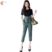 Summer Set Youth Women Spring Fashion 2pcs Suit Sets 2017 New Summer Women Temperament Pants Suit