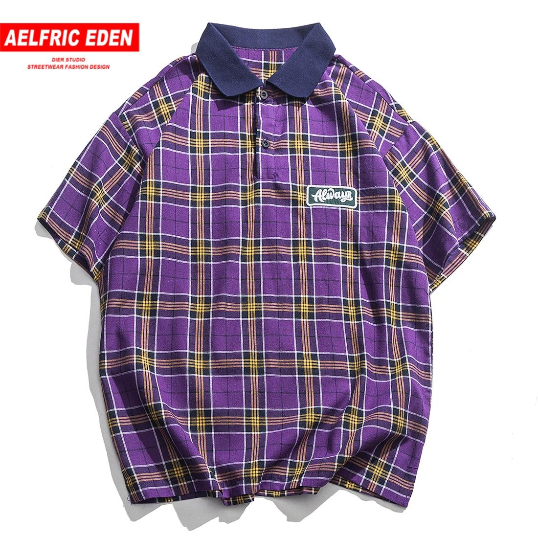 Aelfric Eden Plaid Turn-down Collar Tops Tees Mens Casual Cotton T Shirt Summer Harajuku Fashion Hip Hop Short Sleeve Streetwear