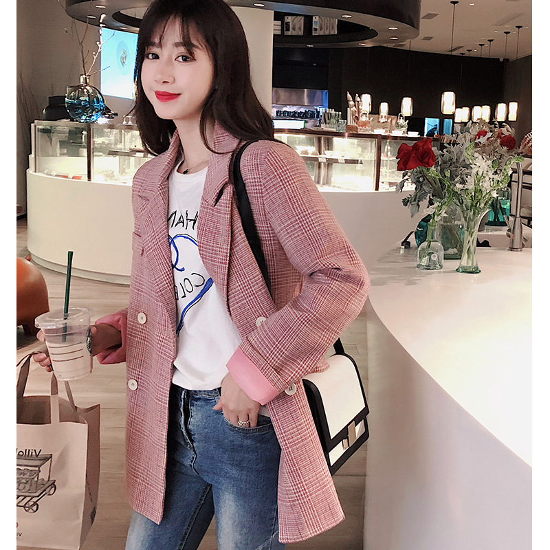 2019 Spring New Korean Pink Suit Top Fashion Long Korean Version Loose Plaid Suit Jacket Button Notched Double Breasted Plaid