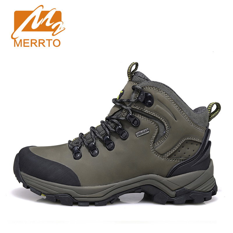MERRTO Brand Man Skid-proof Genuine Leather Waterproof Hiking Camping Shoes Chukka Outdoor Sport  Athletic Hiking Shoes #18638 yin qi shi man winter outdoor shoes hiking camping trip high top hiking boots cow leather durable female plush warm outdoor boot