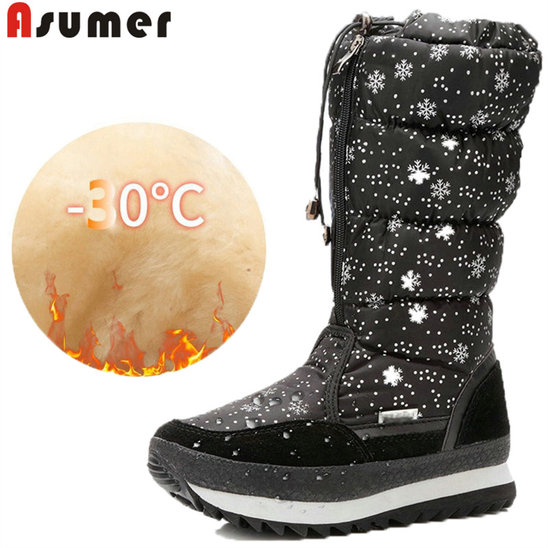 ASUMER 2020 fashion winter boots round toe flat with comfortable keep warm plush snow boots down comfortable mid calf boots