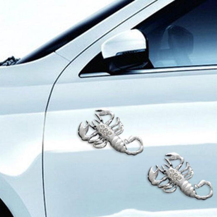 3D Silver Scorpion Car Decor Sticker Auto Decal Metal Auto Decoration Sticker
