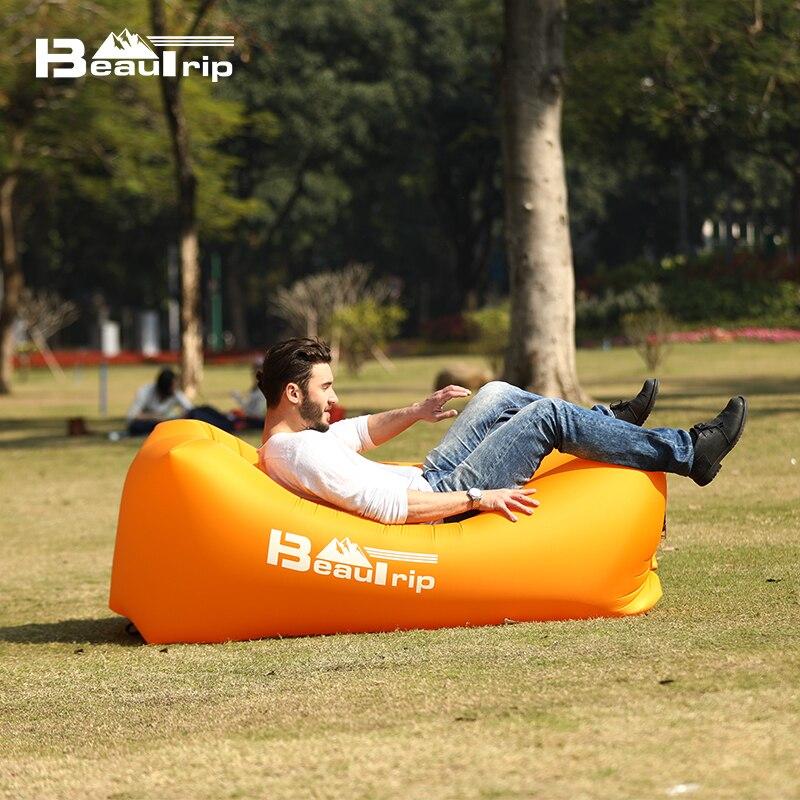 BEAUTRIP Outdoor Inflatable Air Lounger Sleeping Bag Camping Mat Beach Sofa Airbed Mattress Camp Lounge Chair