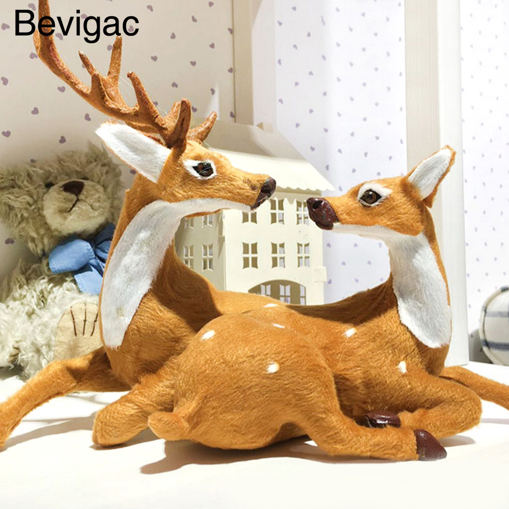 Behogar 1 PCS Couple Christmas Reindeeer Sitting Fawn Ornament Deer Crafts Xmas Gift Toy Home Decorations ...