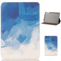 Blue Painted Pattern PU And PC Material Support Protective Cover Case For IPad Air 1 2