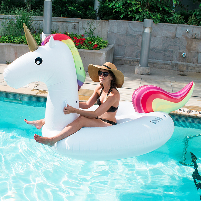 INS Hot 200CM Giant Inflatable Unicorn Swimming Float Ride on Unicorn Swimming Ring Pool Float Adult Kids Beach Water Party Toys