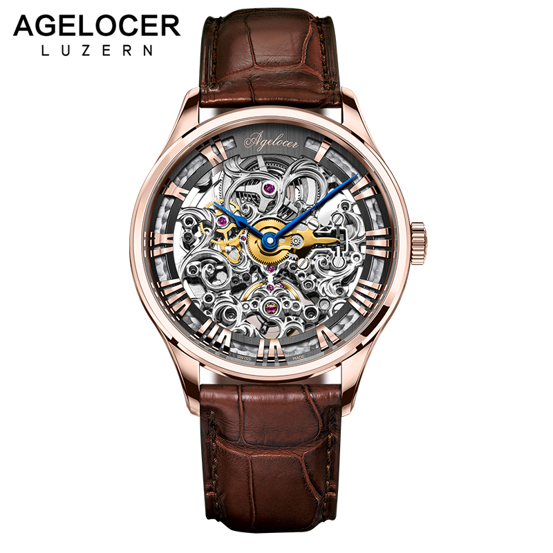AGELOCER Skeleton Power Reserve 80 Hours Mechanical Watch Men Automatic Gold Leather Mechanical Wrist Watches Reloj Hombre 2017 mce luxury brand skeleton square mechanical watches leather gold automatic watch men waterproof casual wristwatch reloj hombre