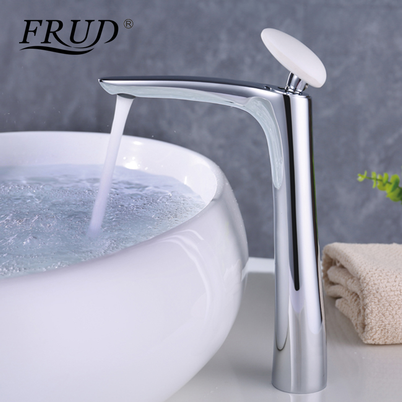 FRUD High Quality 1 set Bathroom Water Mixer White Round Handle Hot and Cold Water Bathroom Chrome Water Mixer robinet Y10018FRUD High Quality 1 set Bathroom Water Mixer White Round Handle Hot and Cold Water Bathroom Chrome Water Mixer robinet Y10018