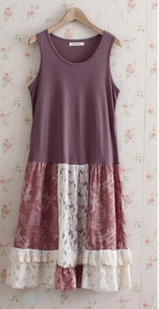 Японский Mori girl платье для женщин милые Свободные Лоскутные Танк дна кружевные цветочные без рукавов женское платье каваи C083 - Цвет: color 2