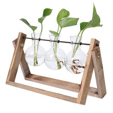 Creative Hydroponic Plant Transparent Vase Wooden Frame Coffee Shop Room Glass Tabletop Decoration LAD-sale(China)