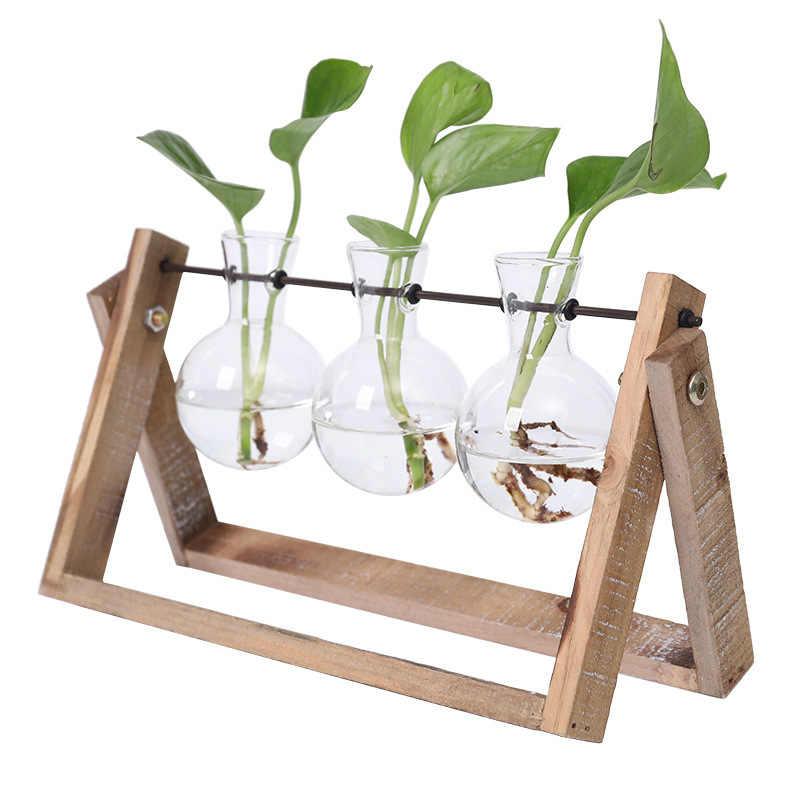 Creative Hydroponic Plant Transparent Vase Wooden Frame Coffee Shop Room Glass Tabletop Decoration LAD-sale