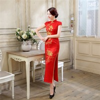 Free Shipping 2016 Style Chinese Traditional Dress Red Wedding Dress Long Evening Dress Embroidery Cheongsam Clothing