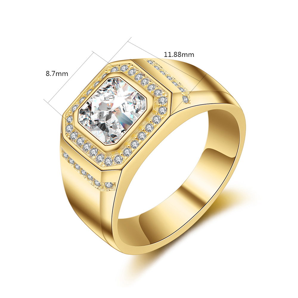 Classic Men Square Crystal Rhinestone Rings Male Gold Color Wedding ...