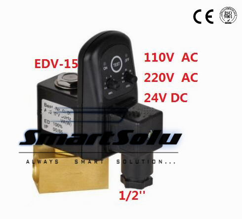 ФОТО Free Shipping High Quality 5PCS In Lot 1/2'' Female Thread Electronic Timer Drain Off Solenoid Valve 24-230V AC/DC EDV-15 Model