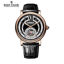 Риф тигр / RT дизайнер свободного покроя роскошные швейцарские часы для мужчин турбийон автоматические с хрустальная корона кожаный ремешок световой RGA192