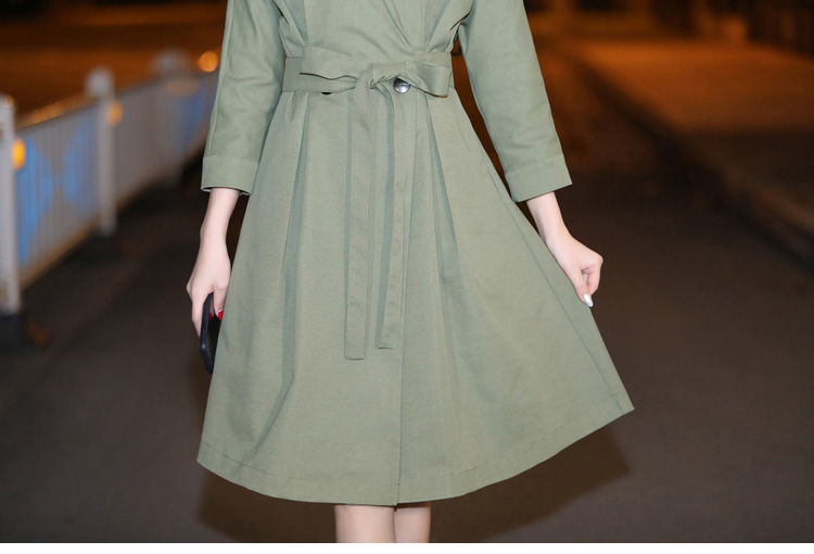 Outwear Green Printemps Le Coupe vent Féminin Bas Femmes W394 Longue Casual army caramel Automne Double 2018 Manteau Vers Tournent Breasted Colour Taille Tranchée Navy Pqw1SxIqTa
