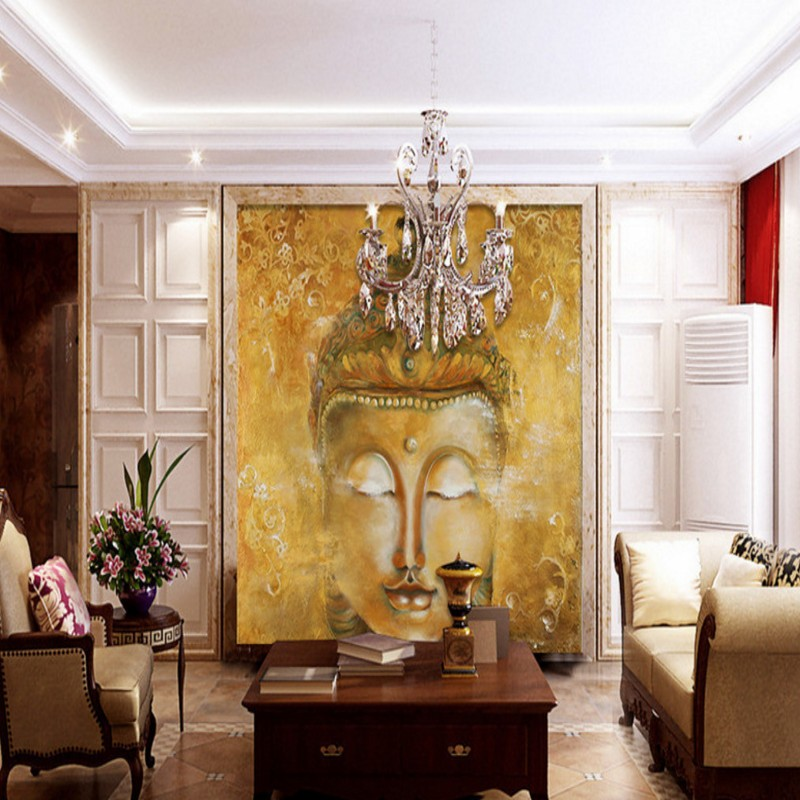photo wallpaper Oil painting magnificent Buddha balcony Living room decoration backdrop custom mural wallpaper book knowledge power channel creative 3d large mural wallpaper 3d bedroom living room tv backdrop painting wallpaper