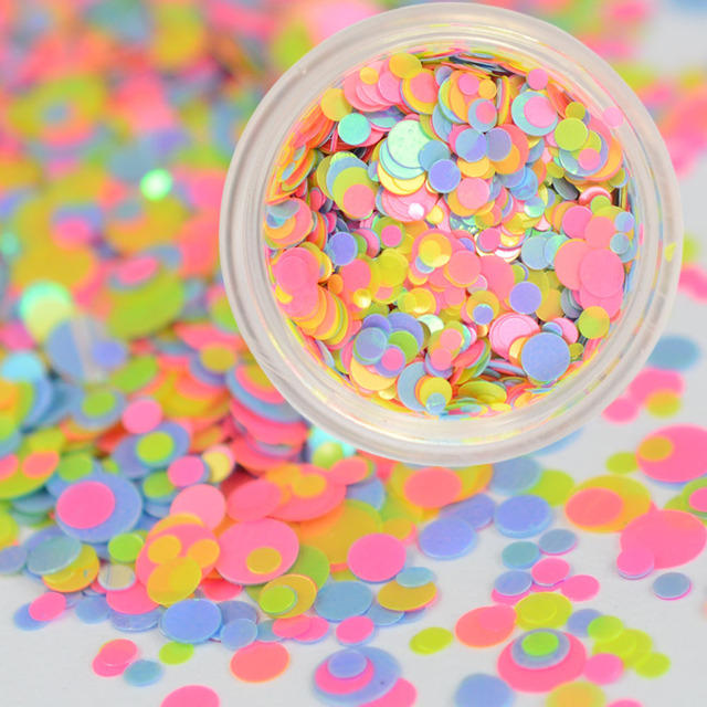 1PCS New Arrival Round Colorful Sheets Tips Nail Glitters Sequins ...