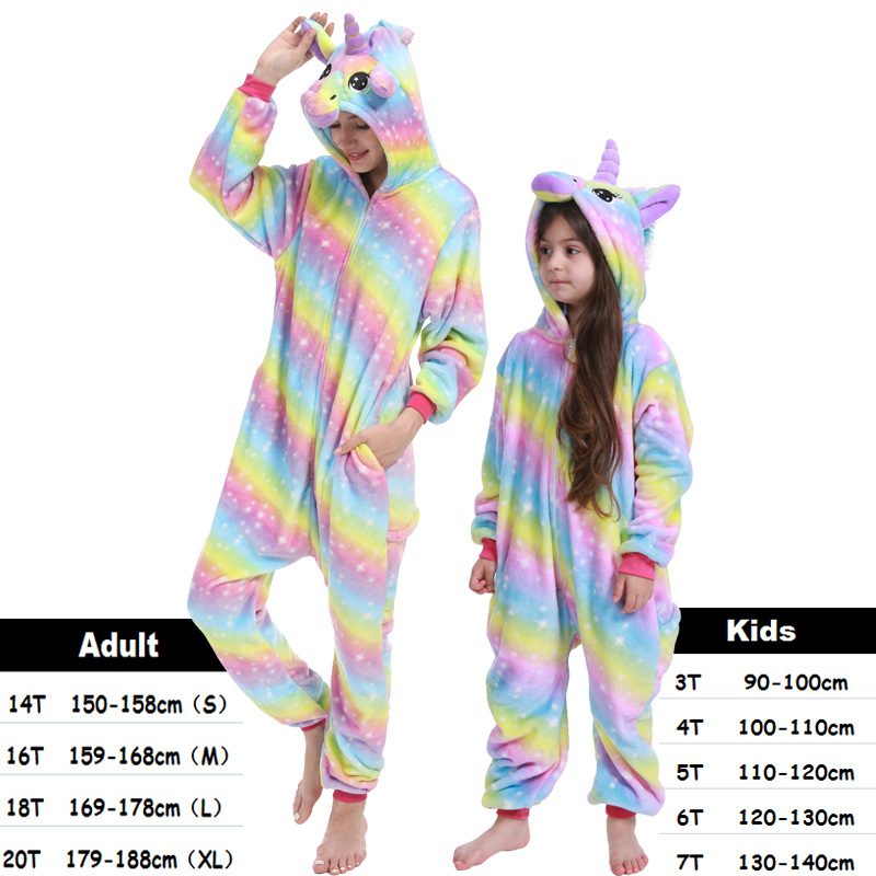 Unicorn Kigurumi Onesie Adult Women Animal Pajamas Suit Flannel Children Sleepwear Winter Jumpsuit Kids Pijamas Cosplay Overalls