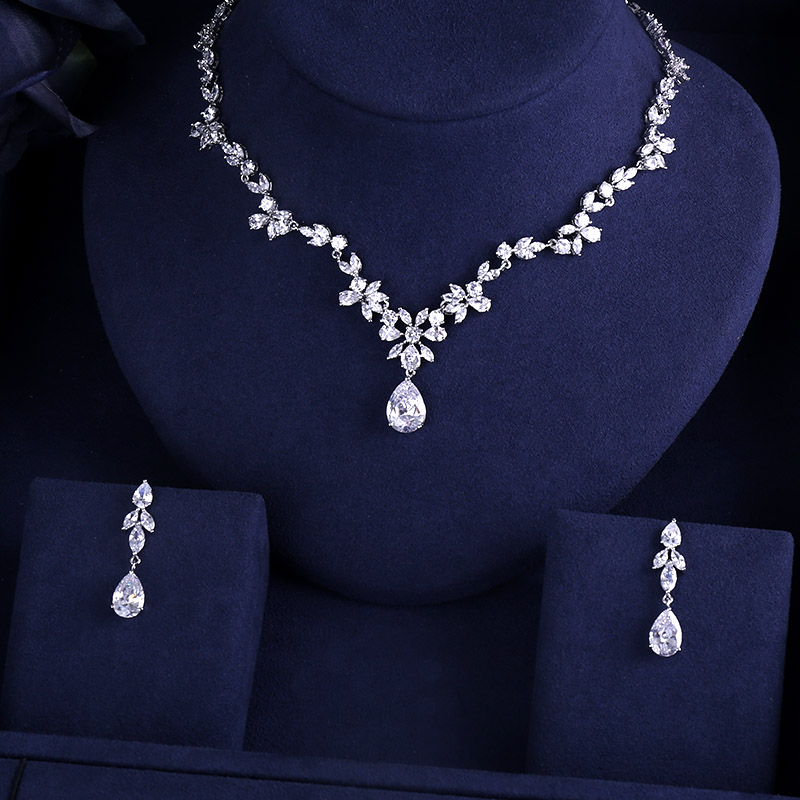 Jewelry-Sets Necklace Wedding-Costume-Accessories Bridal-Earrings Crystal Rhinestone