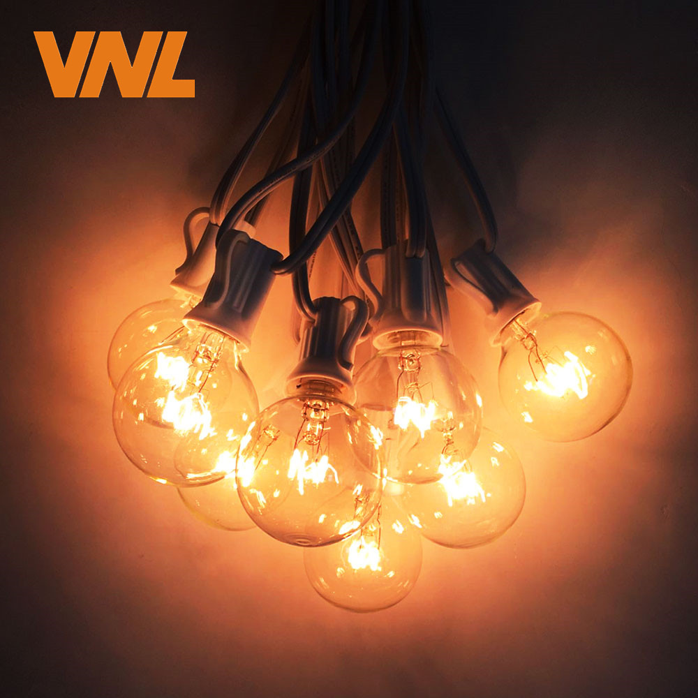 VNL 11M 25X G40 Wedding String Light Garden Decorative Garland Light With Clear Ball Bulbs for Outdoor Hanging Umbrella Patio тушь для ресниц rouge bunny rouge amplitude big lash mascara 04 цвет 04 pure obsidian variant hex name 010101