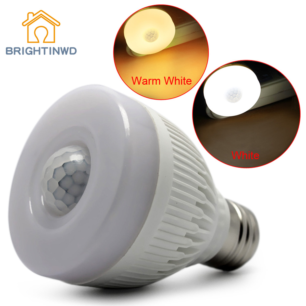 BRIGHTINWD E27 5W Night Bulb PIR Infrared Motion Sensor Detector LED Auto Lamp Light Bright hot sale lowest price 3led pir infrared auto motion sensor detector security wireless cabinet night light free shipping