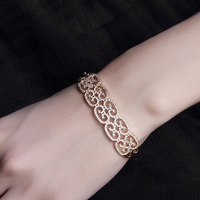 18k Bangle Gold Plated Fashion Jewelry Ornaments Exquisite Pattern Big Bracelet Platinum Plated Luxury CZ Wedding