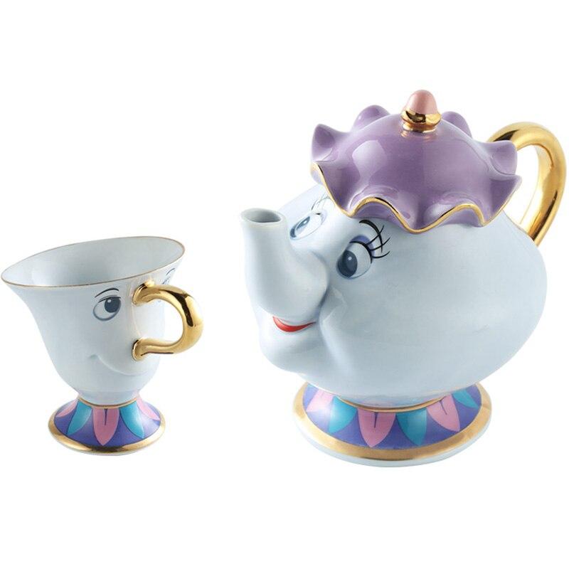 Beauty and the Beast Coffee Pot Mug Set La Bella Y La Bestia Mrs Potts and