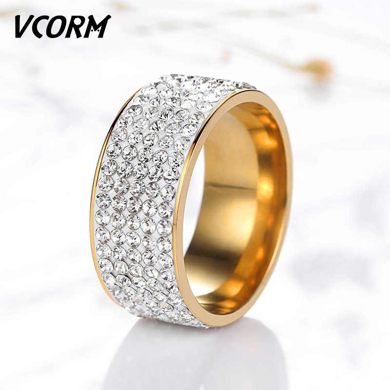 VCORM ผู้ชายผู้หญิงงานแต่งงานแหวนแฟชั่นไทเทเนียม 5 แถวแหวนหมั้นคริสตัลทองเงินเลดี้ชายแหวนเครื่องประดับ