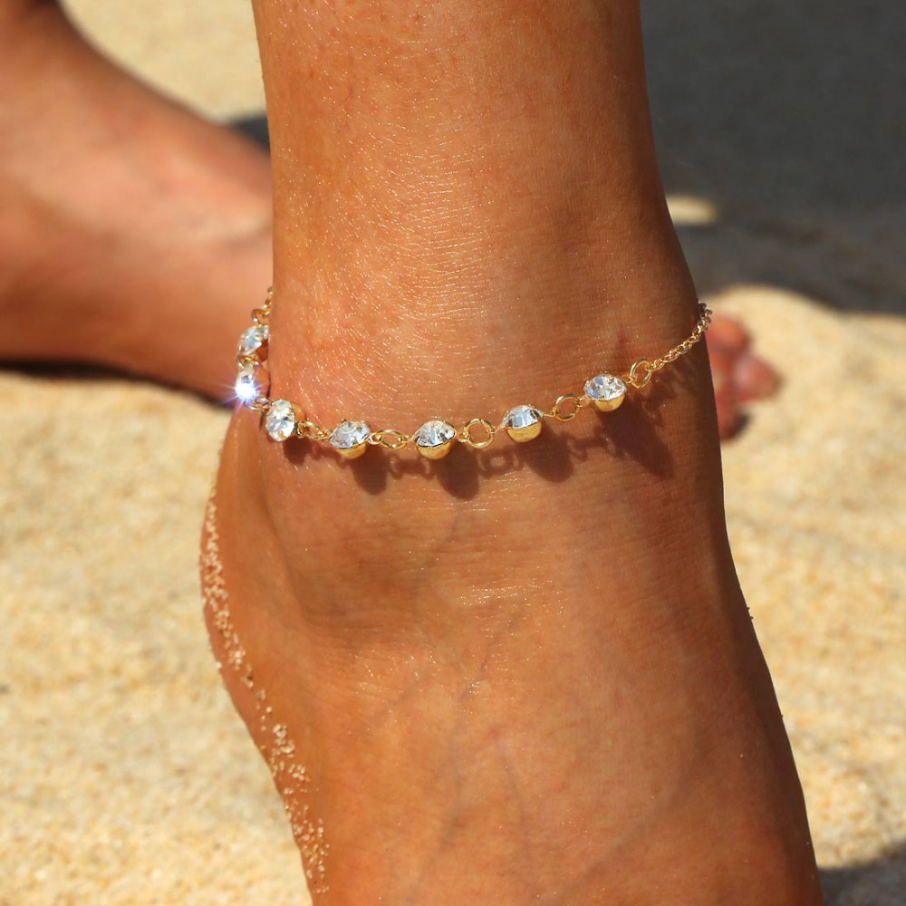 Vintage Crtystal Anklets for Women Girls New Gold Silver Plated Anklet Bracelets Leg Chain Bohemian Foot Jewelry Wholesale Price