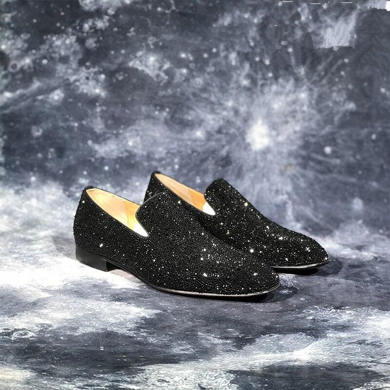 Роскошные Брендовые мужские лоферы; Модные Повседневные туфли на плоской подошве с украшением в виде кристаллов; блестящие свадебные туфли для вечеринки; деловая обувь; zapatos de mujer - 5