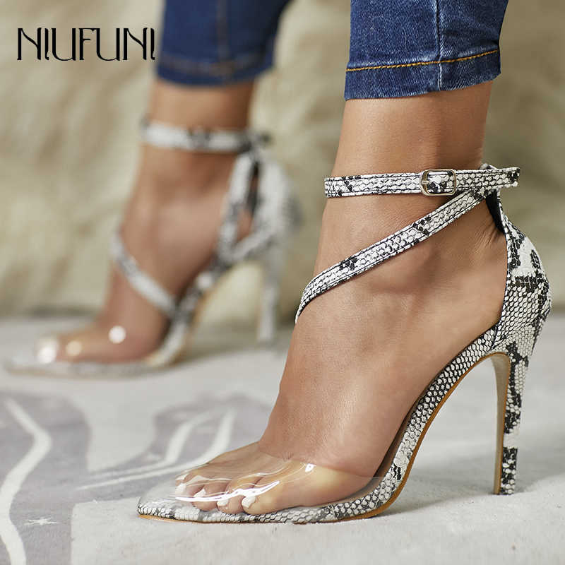 Size 35-42 Fashion Women Snake Print Pointed Toe Sandals Transparent Bandage Ankle Strap Thin High Heels Shoes Lady Dress Sandal