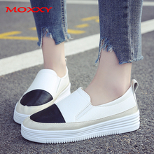 купить White Platform Sneakers Women Shoes Leather Comfort Slip On Flats Women Loafers Casual Female Canvas Shoes 2019 chaussures femme дешево
