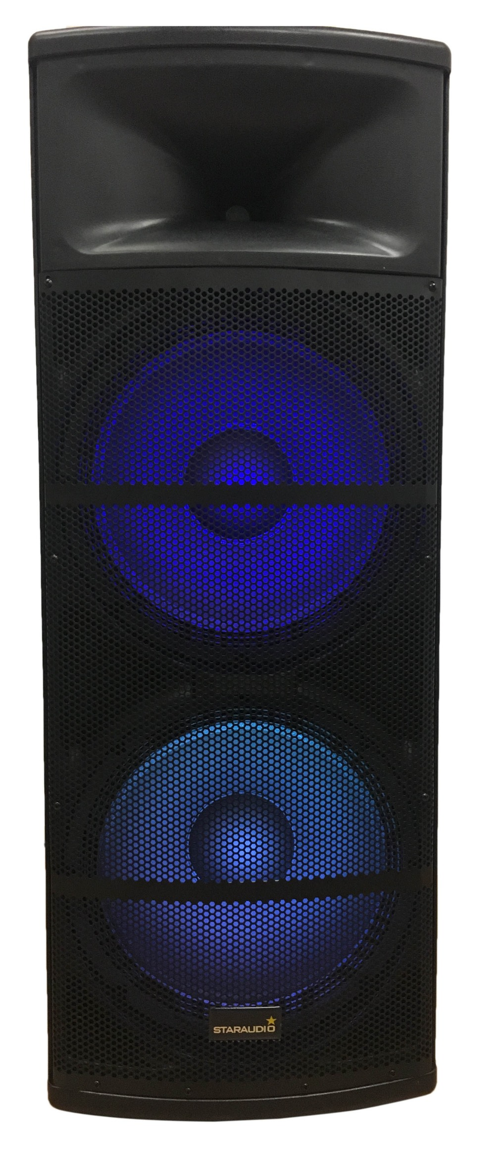 party dual 15 inch powered pa stage karaoke speaker with usb sd card bluetooth led rgb light 2channel handheld mic system