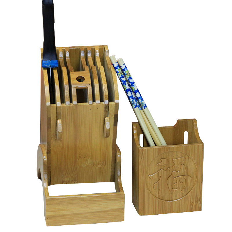 New Bamboo Knife Block Creative Storage Rack Tool Wood Kitchen Knife Holder Stand Household Cooking Supplies