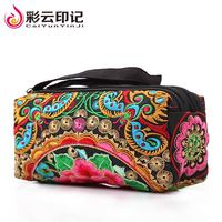 Casual Flower Handbag For Women Black Cotton Fabric Wallets Zipper Embroidery Floral Wallet Fashion Card Bag