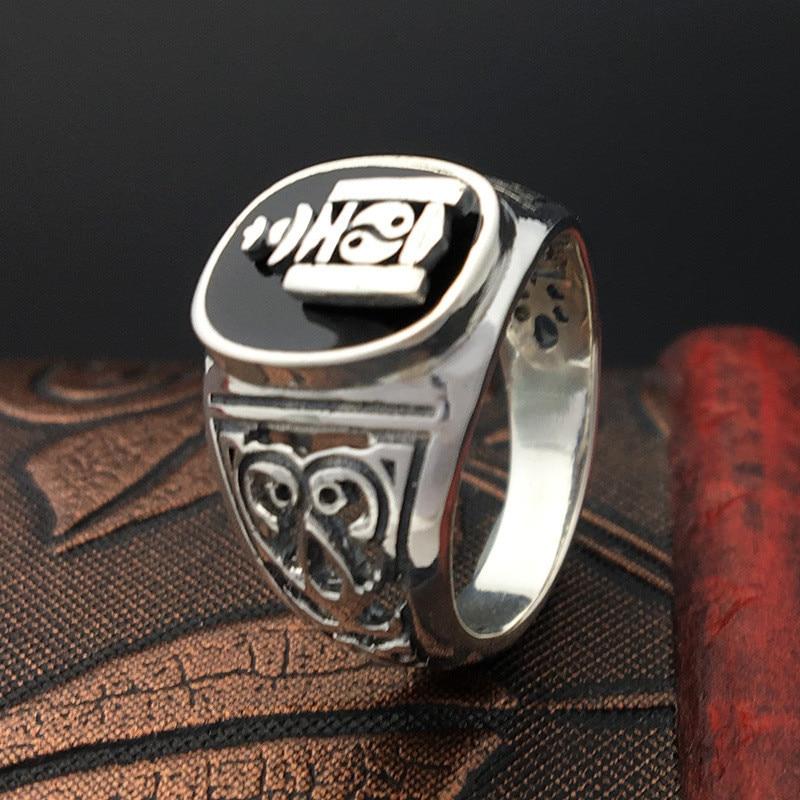 Тайцзи-Багуа одноцветное Серебро 925 кольца для Для мужчин Винтаж тайский серебряный Cool стерлингового серебра Для мужчин s ювелирных изделий...