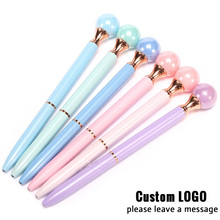 Fashion Colorful Crystal Pen Kawaii Pearl Metal Ballpoint With Free LOGO Diamond Signature Gifts Special Customize